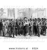 Historical Illustration of Indian Delegations at Washington - Black and White Version by Al
