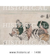 Historical Illustration of Japan Porters Carrying People and Trunks by Al