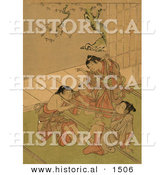 Historical Illustration of Japanese Kids Playing Tug of War by Al