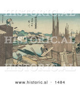 Historical Illustration of Japanese Men Building a Wall by Al