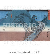 Historical Illustration of Japanese People Walking on the Tokaido Road over a Mountain Pass by Al