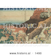Historical Illustration of Japanese Pilgrims Climbing a Mountain to Reach a Cave Filled with Monks by Al
