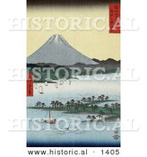 Historical Illustration of Japanese Sailboats Around Pine Grove on Promontory near Mt Fuji, Suruga Bay, Miho, Japan by Al