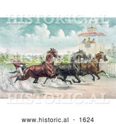 Historical Illustration of Judges Watching a Close Race Between Four Horse Harness Racing Jockeys by Al