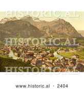 Historical Illustration of Linth River in the Town of Schwanden, Glarus, Switzerland by Al