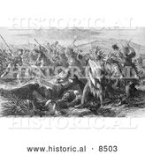 Historical Illustration of Massacre of United States Troops by the Sioux and Cheyenne India 1866 - Black and White Version by Al