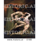 Historical Illustration of Men Fighting, Dante and Virgil in Hell, by William-Adolphe Bouguereau by Al