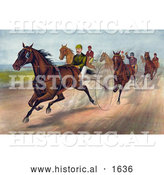 Historical Illustration of Men Racing Horses with Dust Rising on the Track by Al