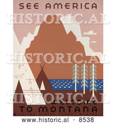 Historical Illustration of Native American Tipis and Rock Art by a River and Mountains in Montana by Al