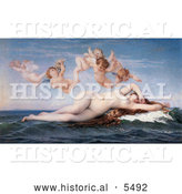Historical Illustration of Nude Woman Floating on Ocean Waves, Cherubs Above Her, the Birth of Venus by Alexandre Cabanel by Al