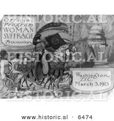 Historical Illustration of Official Program - Woman Suffrage Procession - Washington, D.C. March 3rd, 1913 - Black and White Version by Al