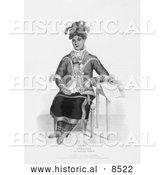 Historical Illustration of Ojibway Woman - Black and White Version by Al