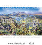 Historical Illustration of Panoramic Drawing of Yellowstone National Park by Heinrich Berann by Al