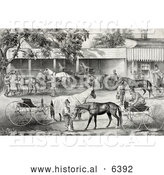 Historical Illustration of People Gathering Water for Their Hoses While Stopping in a Village by Al