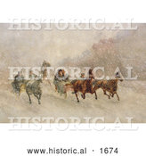 Historical Illustration of People Racing on Horse Drawn Sleighs on a Snowing Winter Day by Al