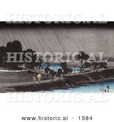 Historical Illustration of People Using Umbrellas While Walking Along the Waterfront in the Rain at the Azuma Shrine, Japan by Al
