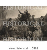 Historical Illustration of Pilgrims Preparing for Departure to America by Al