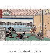 Historical Illustration of Pretty Geisha Women Entertaining Japanese Men with Dance and Music in a Teahouse by Al