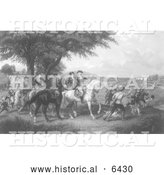 Historical Illustration of Provision Train - American History - Black and White by Al
