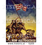 Historical Illustration of Raising the Flag at Iwo Jima 1945 by Al