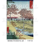 Historical Illustration of Red Leaved Maple Trees near a Stream on Sunset Hill with Mt Fuji, Meguro, Tokyo, Japan in the Background by Al