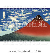 Historical Illustration of Red Mount Fuji in Clear Weather - Katsushika Hokusai by Al