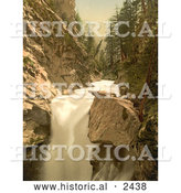 Historical Illustration of River and Waterfall in Gorner Gorge, Switzerland by Al