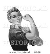 Historical Illustration of Rosie the Riveter - Black and White Version by Al
