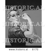 Historical Illustration of Rosie the Riveter - Black and White Version Without Text by Al