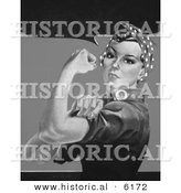 Historical Illustration of Rosie the Riveter Flexing Her Left Arm - Black and White Version Without Text by Al
