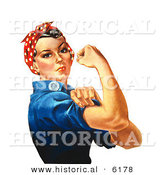 Historical Illustration of Rosie the Riveter Flexing Her Right Arm by Al