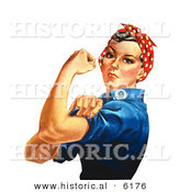 Historical Illustration of Rosie the Riveter Flexing Left Arm by Al
