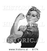 Historical Illustration of Rosie the Riveter Flexing Left Bicep - Black and White Version by Al