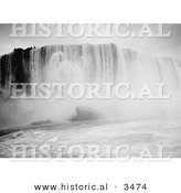 Historical Illustration of Rushing Waters of Horseshoe Falls from the Maid of the Mist, Niagara Falls, New York - Black and White Version by Al