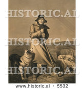 Historical Illustration of Shepherd in the Wind with His Dog and Sheep by Al
