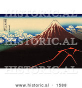 Historical Illustration of Shower Below the Summit - Katsushika Hokusai - Mt Fuji by Al