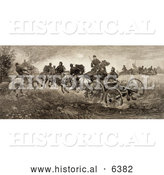 Historical Illustration of Soldiers and Horses Fighting in the Battle of Chancellorsville, Virginia on May 3rd 1863 by Al