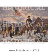 Historical Illustration of Soldiers Watching George Washington on Horseback at Valley Forge by Al