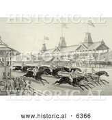 Historical Illustration of Spectators Watching a Horse Race in Progress, Perhaps at Monmouth Park, Long Branch, New Jersey by Al