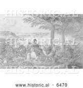 Historical Illustration of the Battle of the Thamas 1813 - Black and White by Al