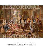 Historical Illustration of the Birth of Old Glory, Betsy Ross American Flag by Al