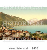 Historical Illustration of the City of Montreux on Geneva Lake by Al