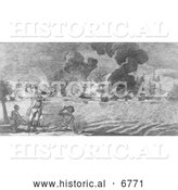 Historical Illustration of the Defeat of American Army by General Howe 1777 by Al