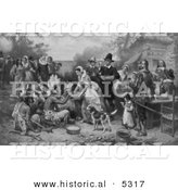 Historical Illustration of the First American Thanksgiving - Black and White Version by Al