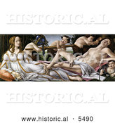 Historical Illustration of the Gods Venus and Mars and Satyrs by Alessandro Botticelli by Al