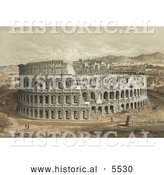 Historical Illustration of the Roman Coliseum by Al