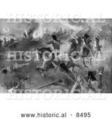 Historical Illustration of the Siege of New Ulm 1862 - Black and White Version by Al