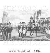 Historical Illustration of the Surrender of Cornwallis at Yorktown 1781 - Black and White by Al