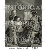 Historical Illustration of Three Children Singing the Star Spangled Banner with a Woman Who Is Playing a Piano by Al