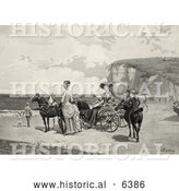 Historical Illustration of Two Beautiful Women by a Carriage on a Beach by Al